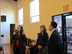 Pastor Brenda and Moderator Barbara Swint present gifts to Dharma Drum Mountain Buddhist Association.