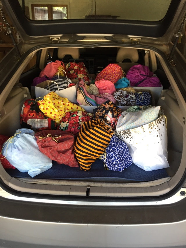 Marilyn's car, filled with ditty bags on their way to S.A.V.E.