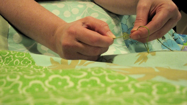 Tying the quilt